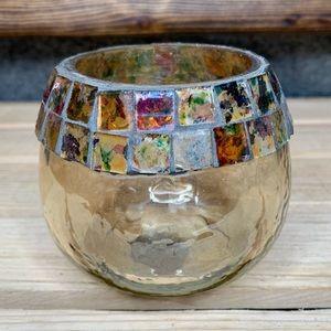 Vintage Gold Mosaic Glass Candle Holder Votive